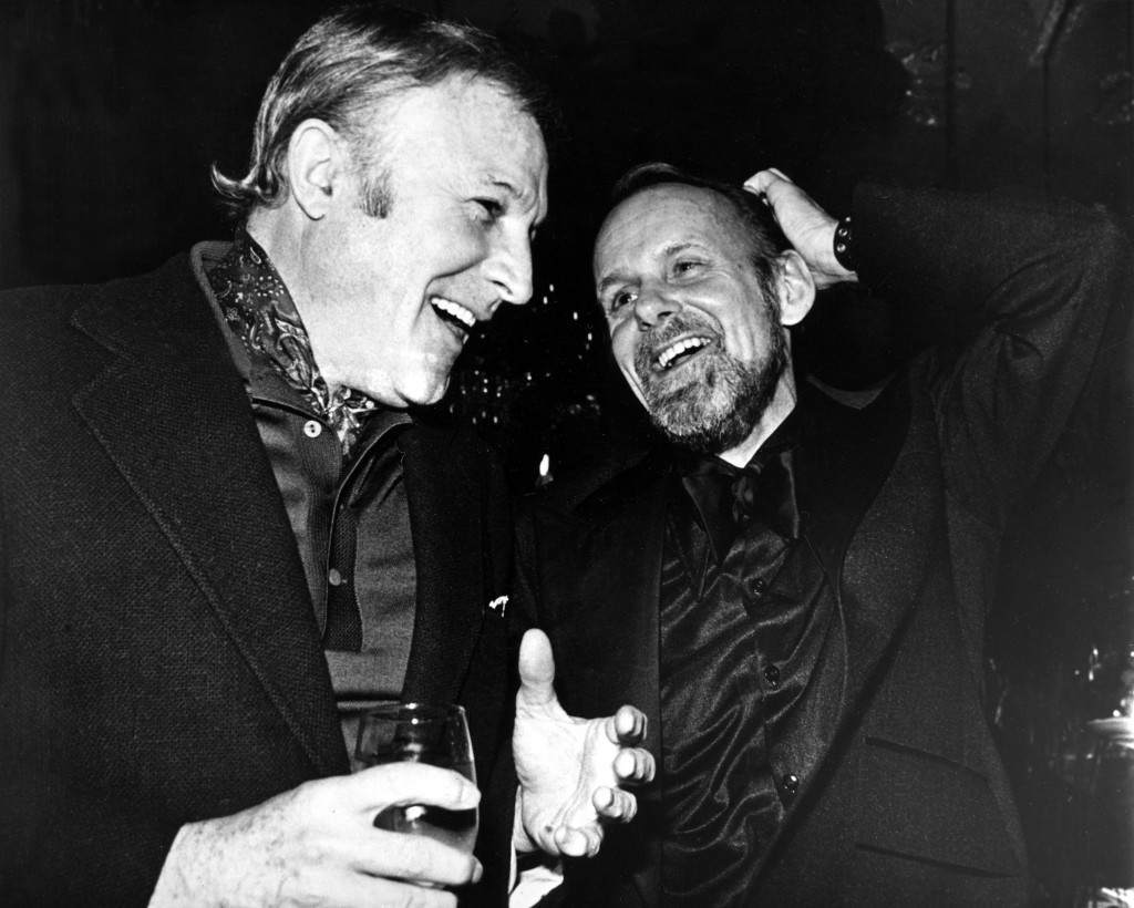 "Actor Gene Kelly, left, and director-choreographer Bob Fosse have an animated discussion at the opening night party for Fosse's new musical ""Dancin'"" at the Tavern on the Green in New York's Central Park in this March 27, 1978, file photo. ""Dancin',"" Bob Fosse's celebration of the world of dance, will return to Broadway next season in a new production by the Roundabout Theatre Company. The all-dance show, directed by Graciela Daniele, will open May 5, 2009, at Studio 54, Todd Haimes, the Roundabout's artistic director, announced Thursday, March 20, 2008. It will begin preview performances April 17, 2009. (AP Photo/Richard Drew, file) Ref #: PA.5795011 Date: 27/03/1978"