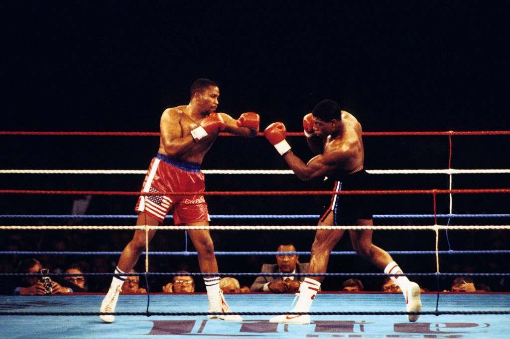 Action from the bout between Tim Witherspoon and Frank Bruno. Witherspoon went on to defeat Bruno in the 11th round to retain his WBA title belt at Wembley Stadium. Ref #: PA.6223902  Date: 19/07/1986