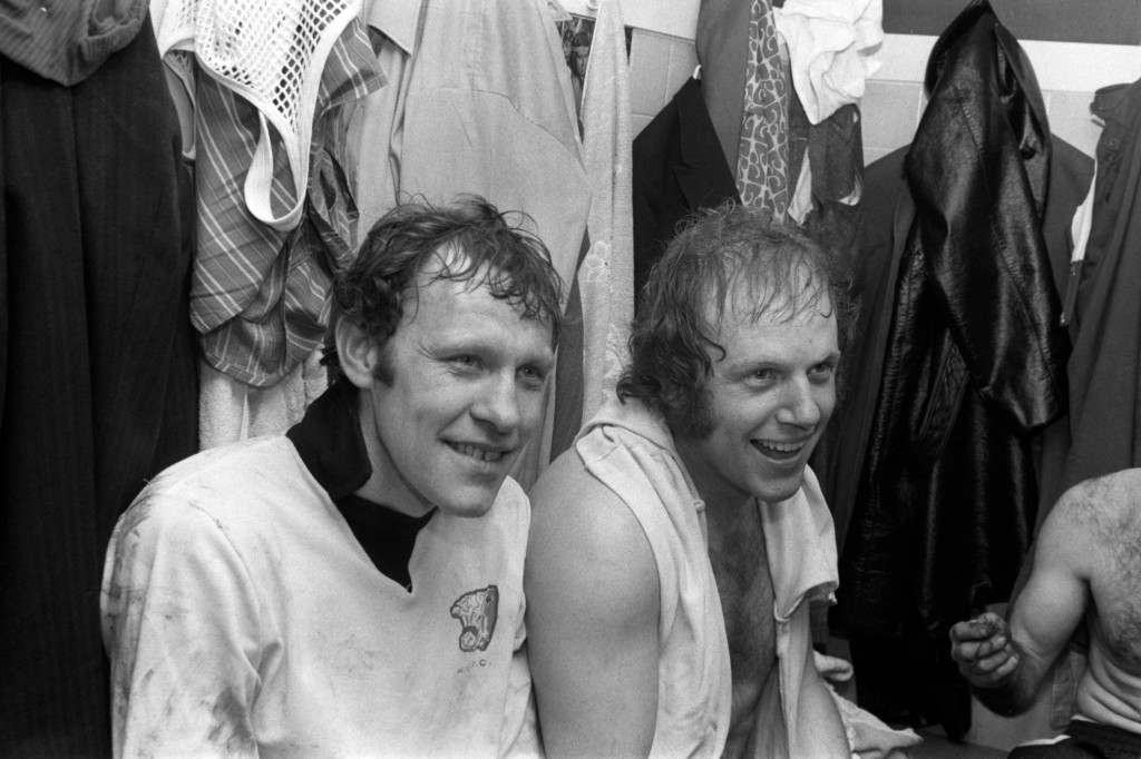 Soccer - FA Cup - Third Round Replay - Hereford United v Newcastle United Hereford United's Ronnie Radford (l) and Ricky George (r) in the dressing room after their goals had given Hereford a shock 2-1 win Ref #: PA.724312  Date: 05/02/1972
