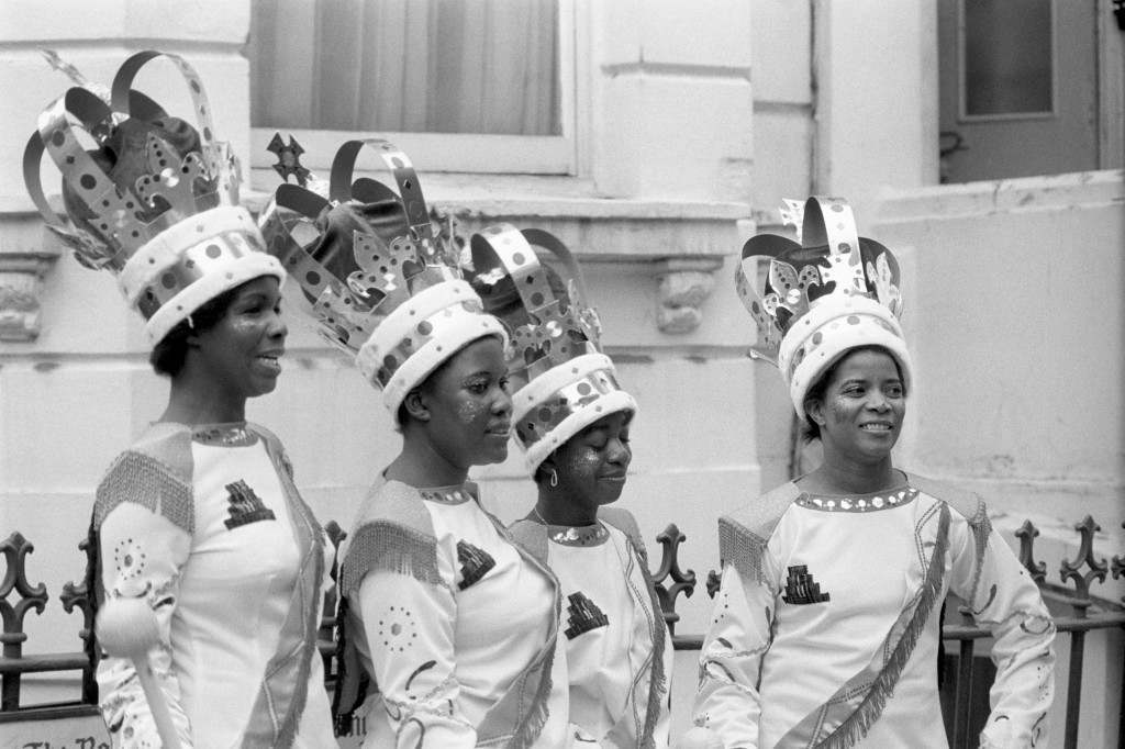 Waiting to form up for the procession, some of the majorettes appearing in the eleventh Notting Hill Carnival, which entered its second and final day. Ref #: PA.7694251  Date: 30/08/1976