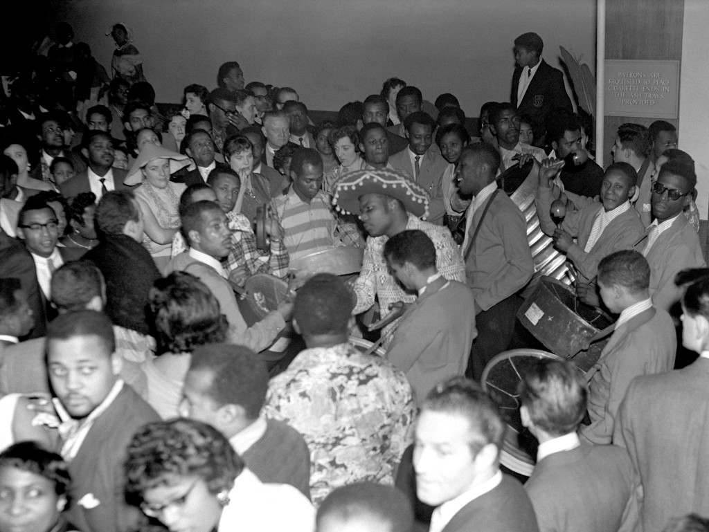 Guests dancing to the music of the Trinidad All Star Steel Band at the Caribbean Carnival at St Pancras Hall, London. Ref #: PA.7694481  Date: 30/01/1959