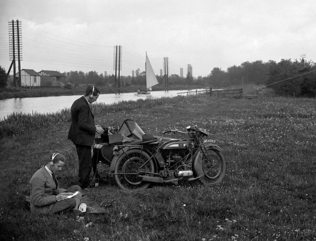A wireless set on a motorcycle and sidecar. Ref #: PA.7764688  Date: 09/04/1929