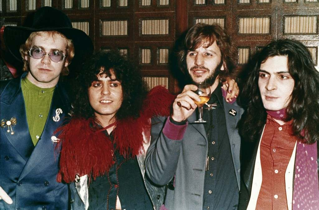 British musicians, from left, Elton John, Marc Bolan, Ringo Starr and Mickey Finn are seen at the premiere of the 1972 movie Ref #: PA.8637553  Date: 15/12/1973