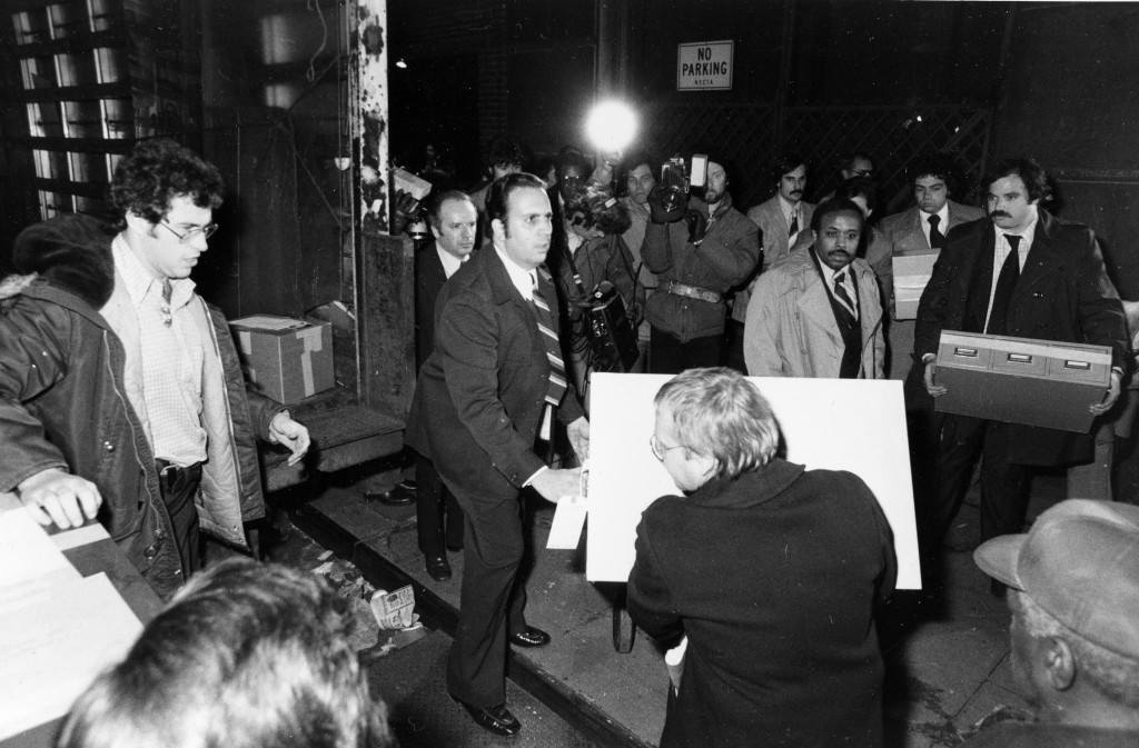 U.S. Treasury agents load boxes of files and records from New York nightclub Studio 54 into trucks to transfer to government offices, Thursday, Dec. 14, 1978. Co-owner of the nightclub Ian Schrager was arrested earlier today for cocaine possession during an Internal Revenue Service (IRS) search of the disco's books. (AP Photo) Ref #: PA.8648042 Date: 14/12/1978