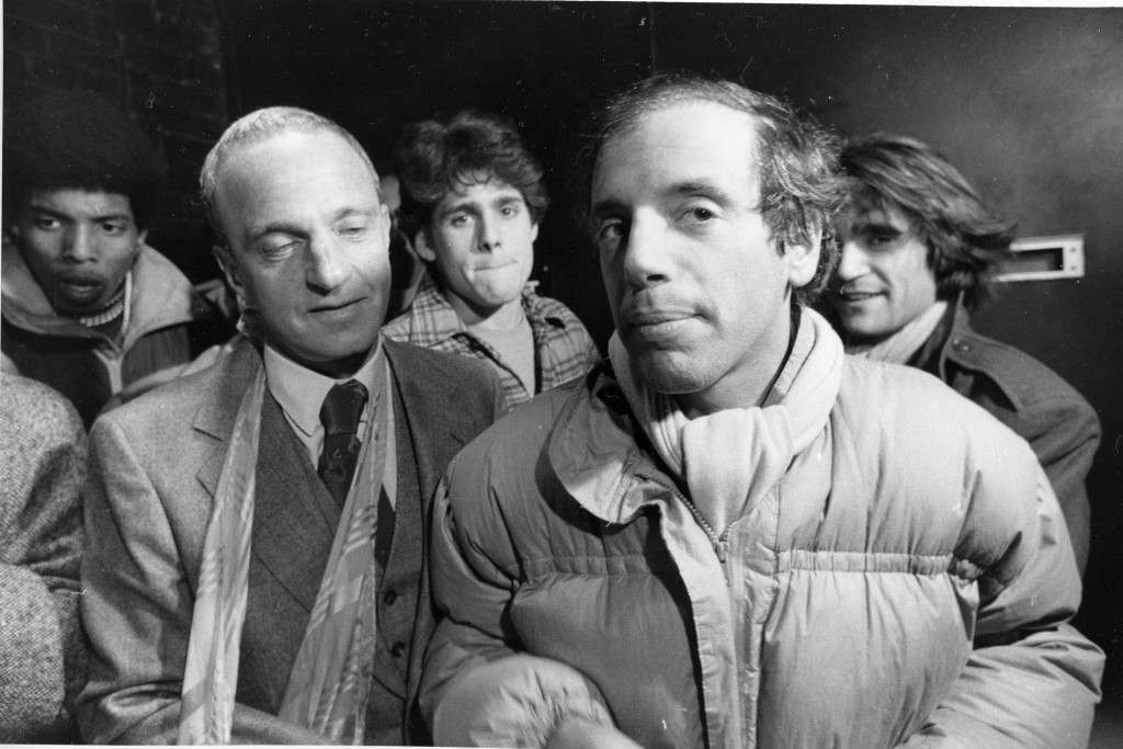 Studio 54 co-owner Steve Rubell and his attorney Roy Cohn, left, talk to reporters outside U.S. District Court in Manhattan, Friday, Nov. 2, 1979, after Rubell and his partner, Ian Schrager, pleaded guilty to tax evasion charges. By pleading guilty they avoid prosecution under an indictment that make them liable to prison terms of 36 years each if convicted. (AP Photo) Ref #: PA.8659083 Date: 02/11/1979