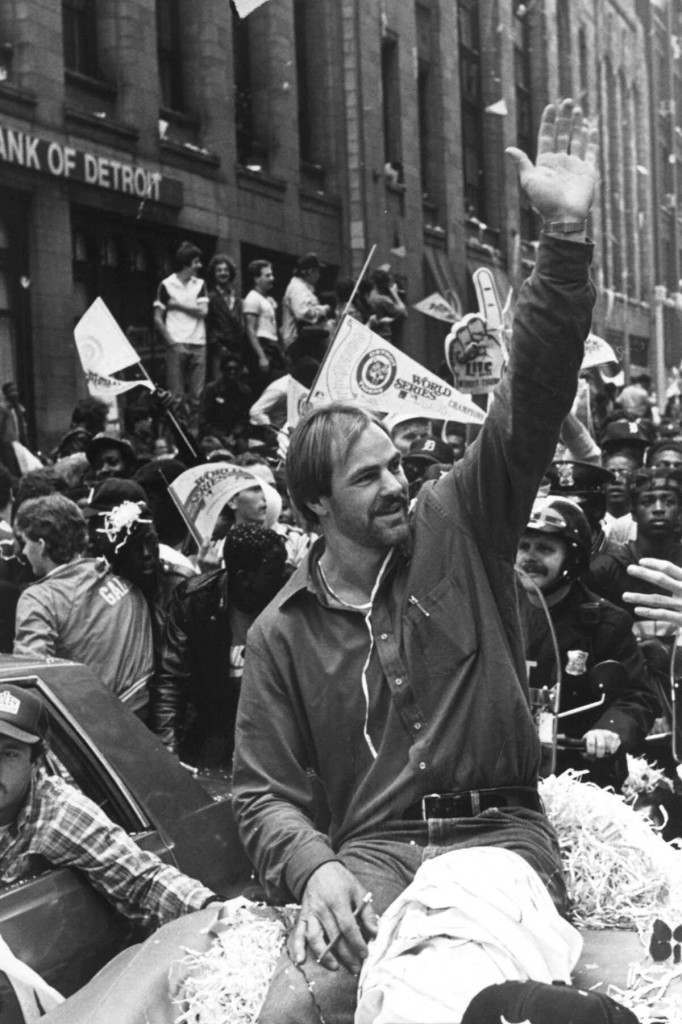 Detoit Tigers' Kirk Gibson waves to the crowd, Oct. 17, 1984, who were on hand for the ticker-tape parade through downtown Detroit in honor of the World Series champion Tigers. Gibson hit one of the most famous World Series home runs at Tiger Stadium. (AP Photo/Mark Cornillie) Ref #: PA.8672677  Date: 17/10/1984