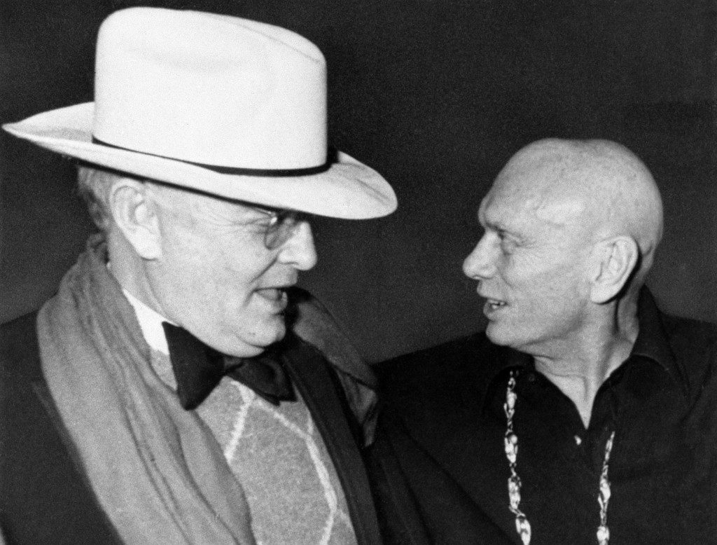 Author Truman Capote chats with actor Yul Brynner at Studio 54 in New York, April 4, 1978. (AP Photo/G. Paul Burnett) Ref #: PA.9730384 Date: 04/04/1978