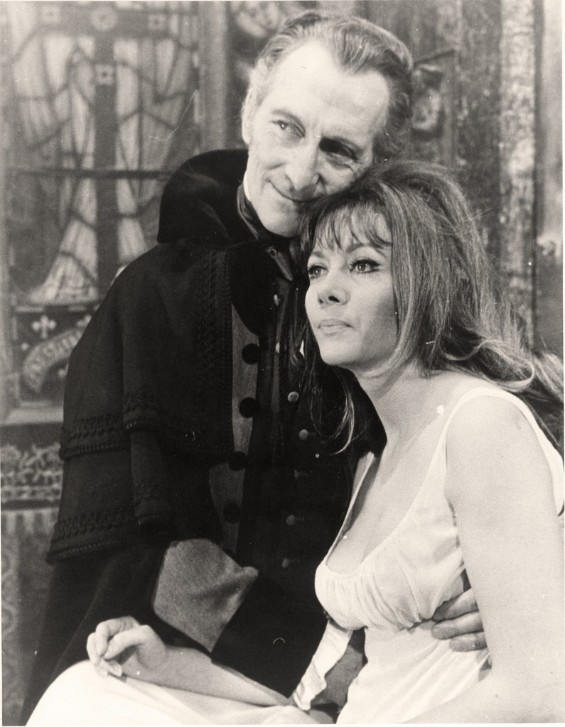 Peter Cushing and Ingrid Pitt on set of Vampire Lovers