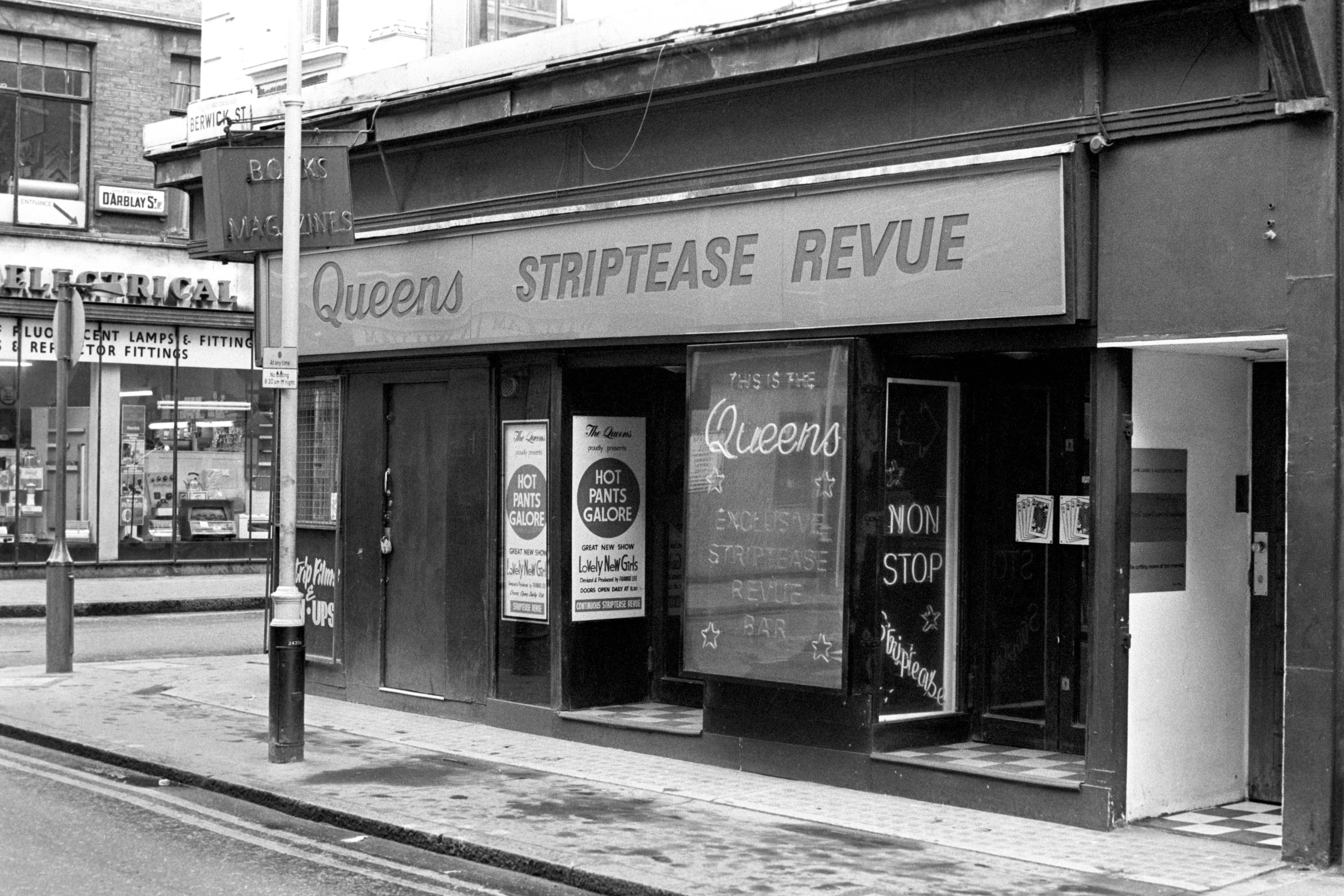 Strip clubs in Soho in the 1970's.