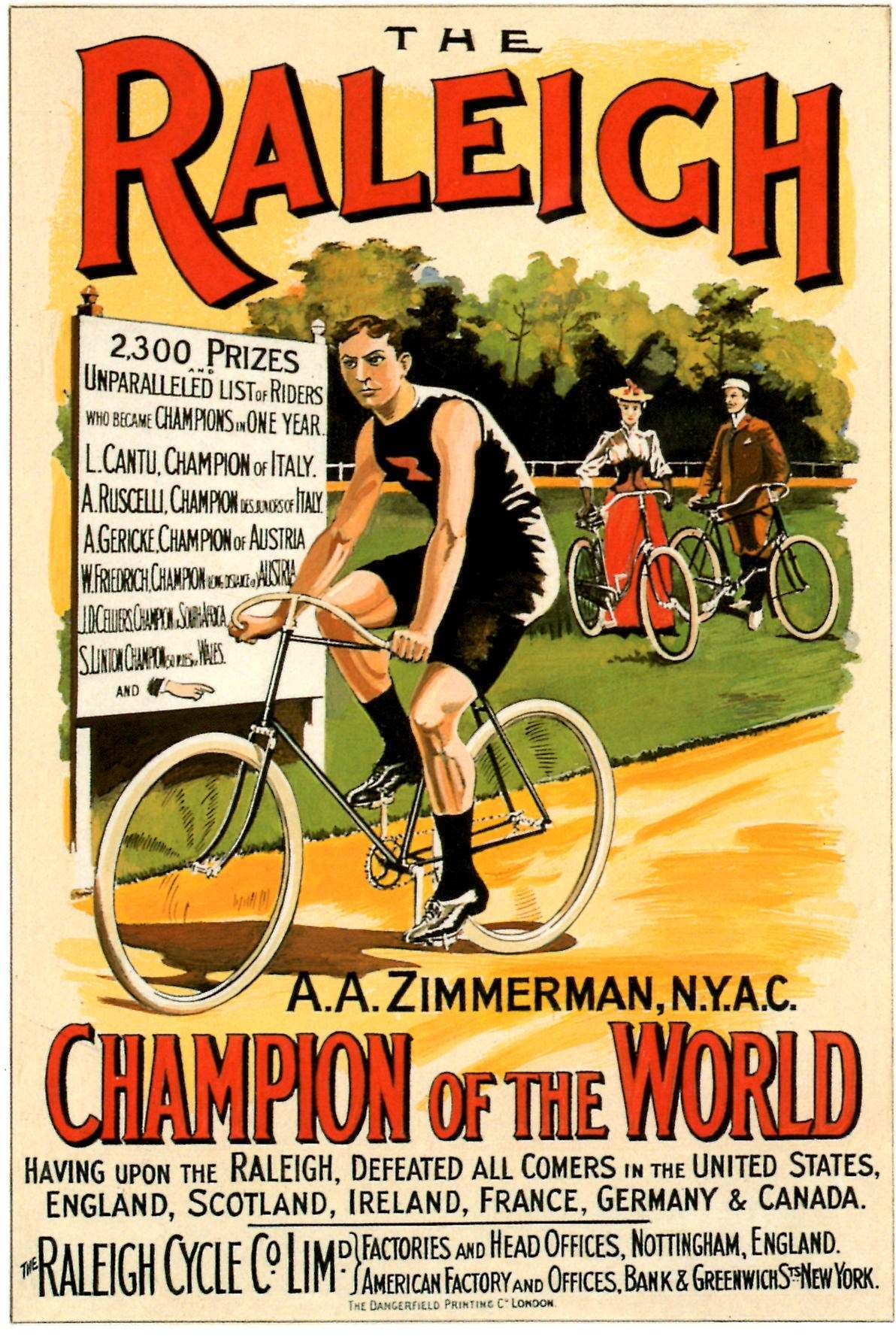 Arthur Augustus Zimmerman was champion of the world cyclist in 1893.