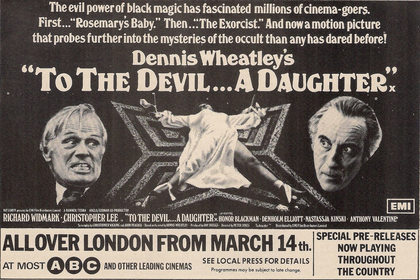 Poster for the film of To the Devil a Daughter released in 1976.