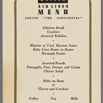 Ten Airline Menus from the 20th Century