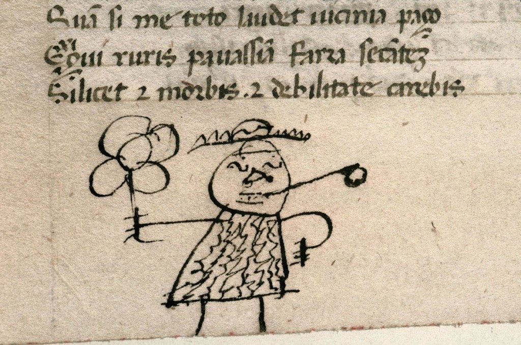 Doodle by bored medieval school boy. A 15th-century doodle in the lower margin of a manuscript containing Juvenal's Satires, a popular classical text used to teach young children about morals. Photo: Carpentras, Bibliothèque municipale, MS 368.