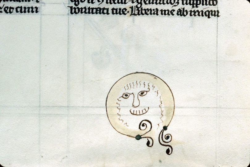 Medieval smiley face. Conches, Bibliothèque municipale, MS 7 (main text 13th century, doodle 14th or 15th century).