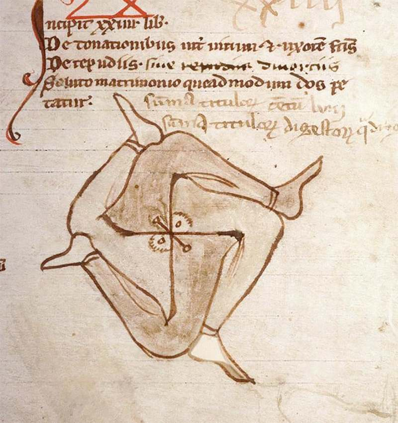 Doodle discovered in a 13th-century law manuscript (Amiens BM 347).