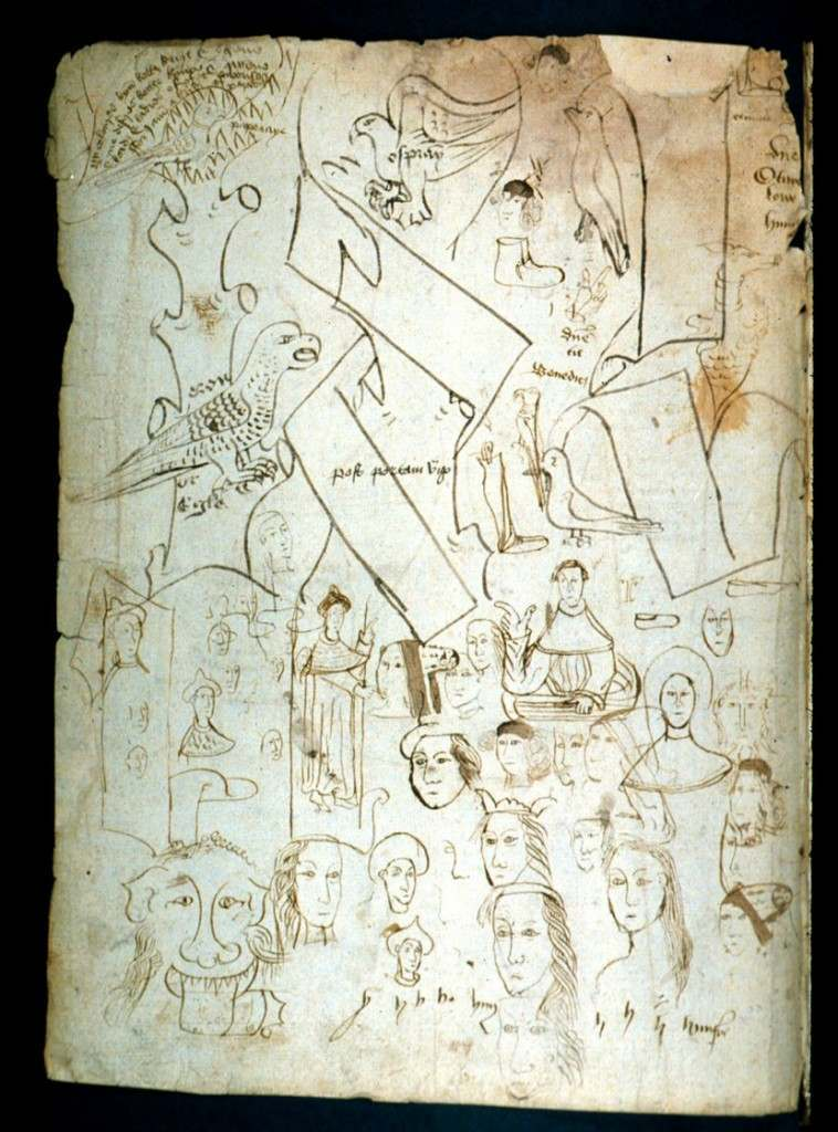 Medieval scribes tested their pens by writing short sentences and drawing doodles. The pen trials above are from Oxford, Bodleian Library, Lat. misc. c. 66 (15th century)
