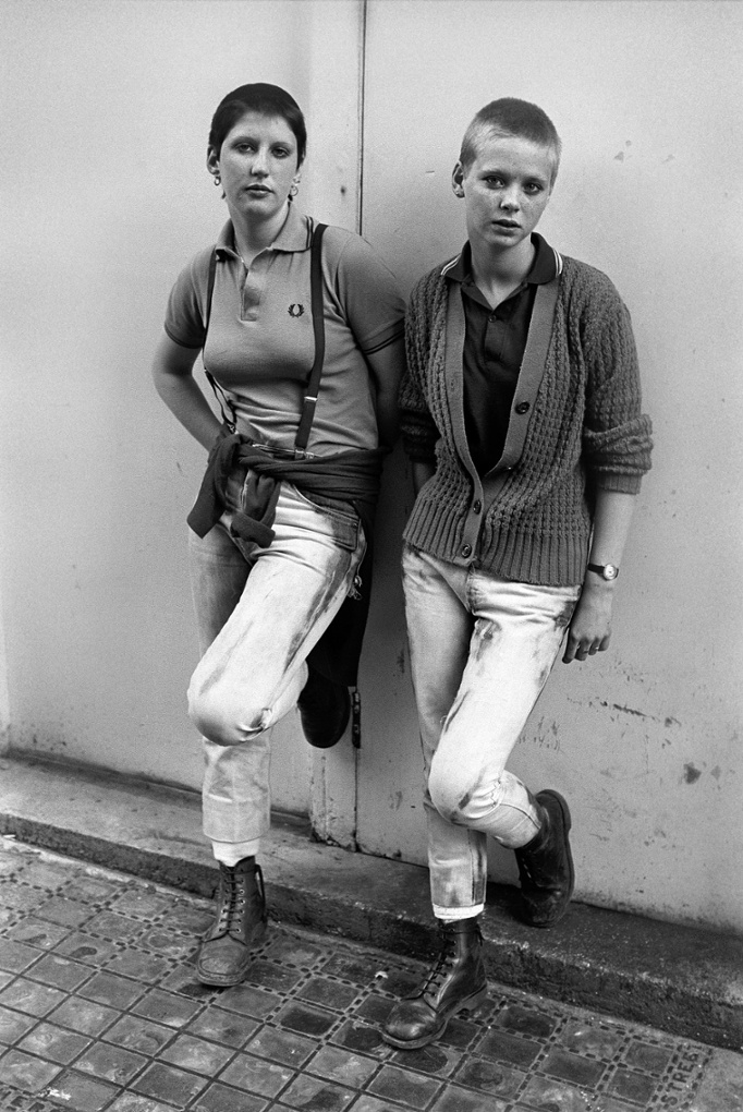 Two skinhead girls photographed on a bank holiday in Brighton (this is the image later used by Morrissey on the Your Arsenal tour).