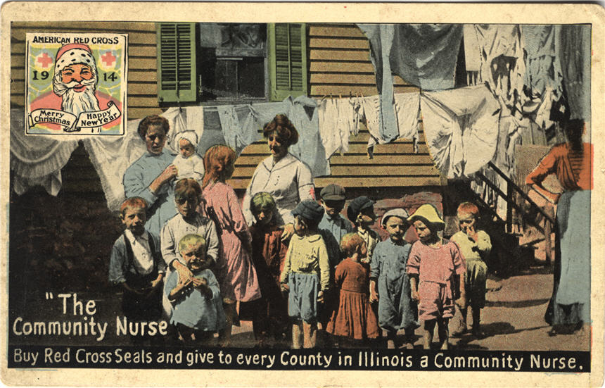 Illinois Red Cross community nurse fund promotional card, ca. 1914