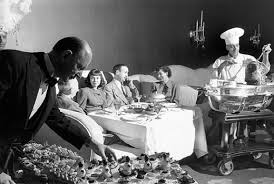 A family enjoys a fine meal at the Pump Room.
