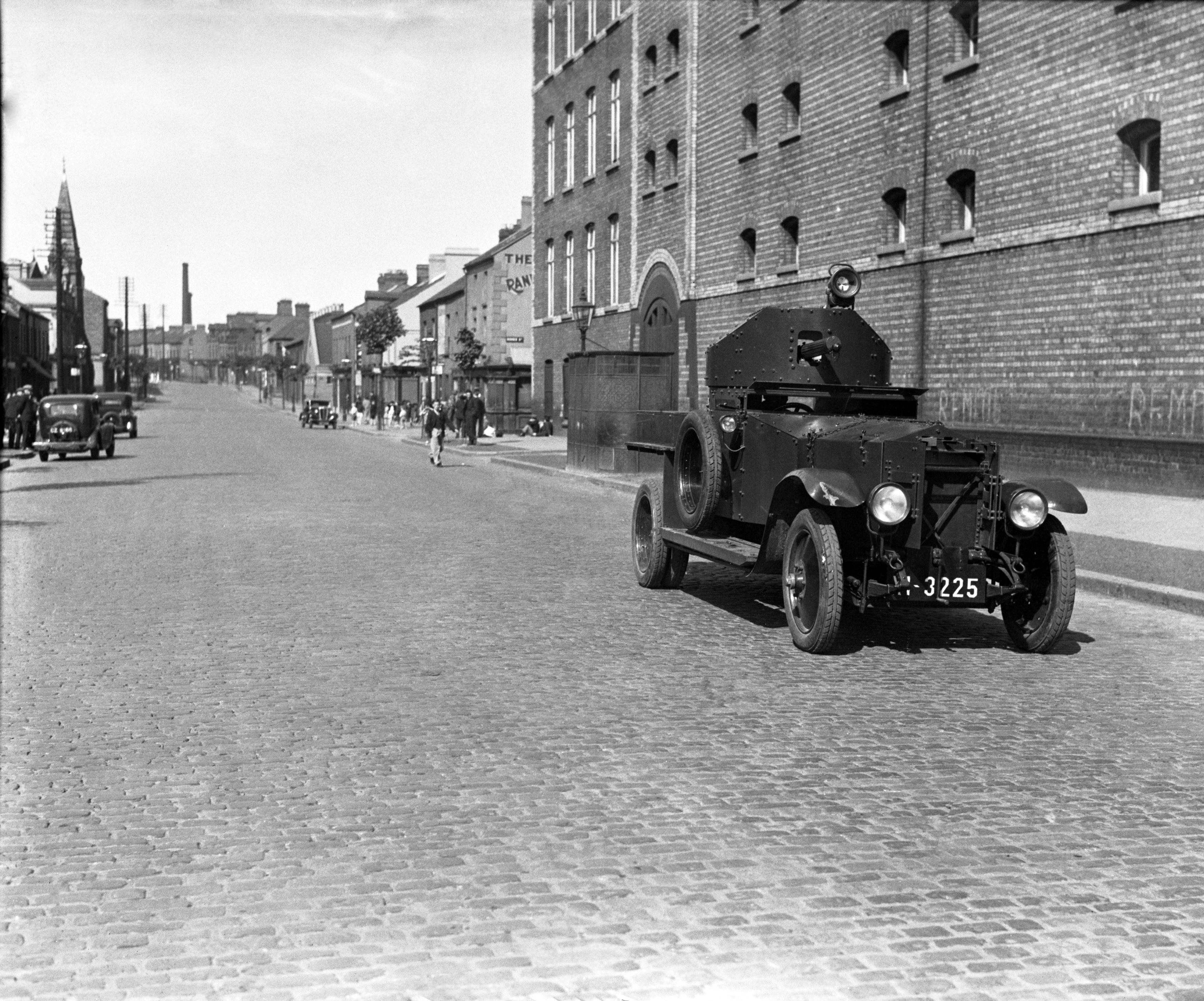 An armoured car progressing along York Street, Belfast on July 14, 1935 when rioting between Unionists and Nationalists flared up. (AP Photo/BEAD)