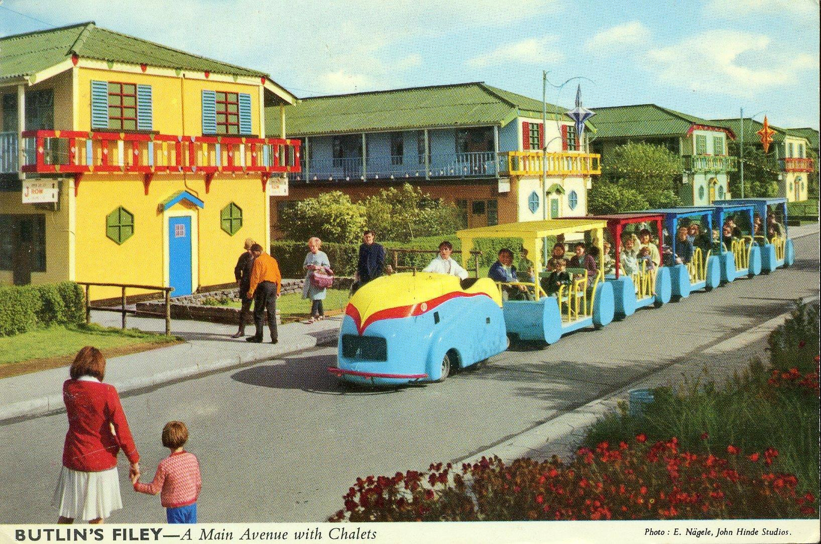 Butlins Filey - A Main Avenue (postcard, late 1960s)