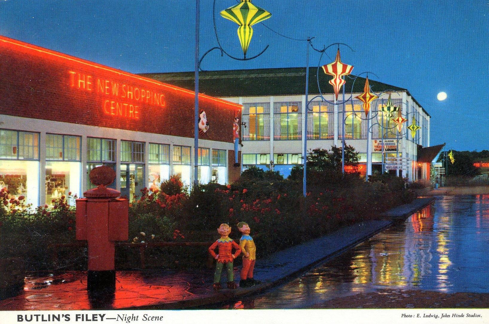 Butlins Filey - Night View (postcard, late 1960s)