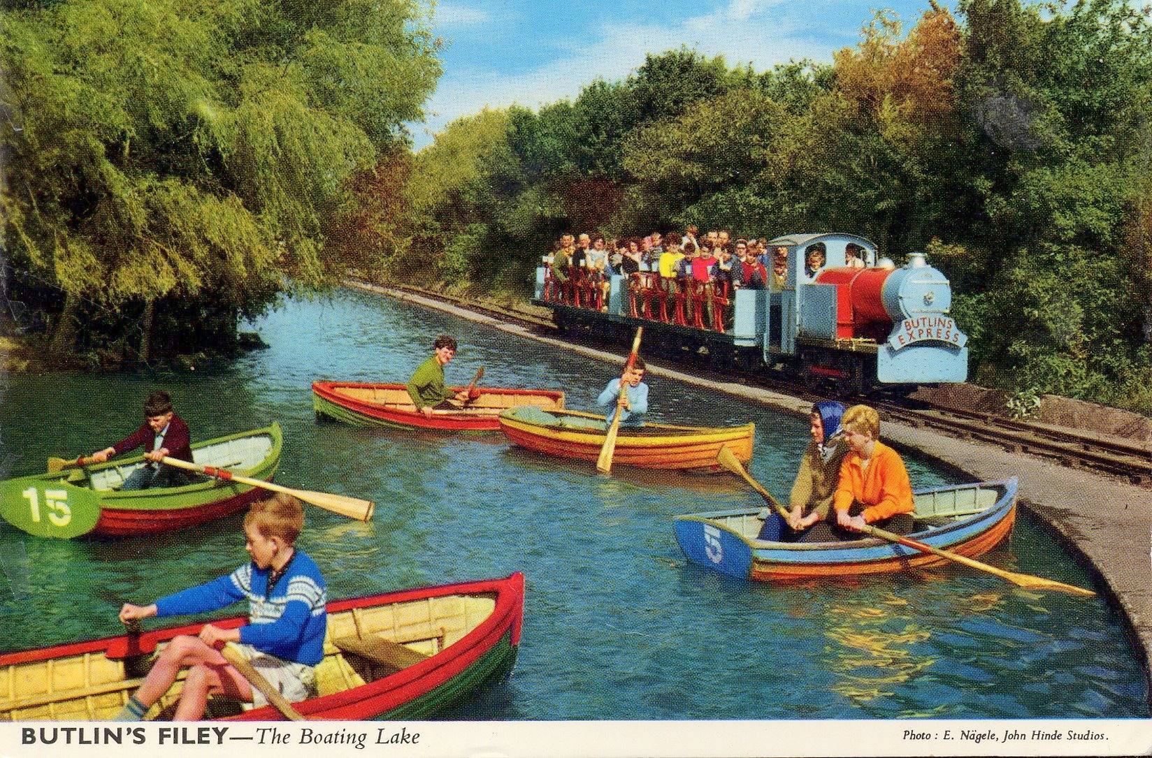 Butlins Filey - The Boating Lake & Train (postcard, late 1960s)