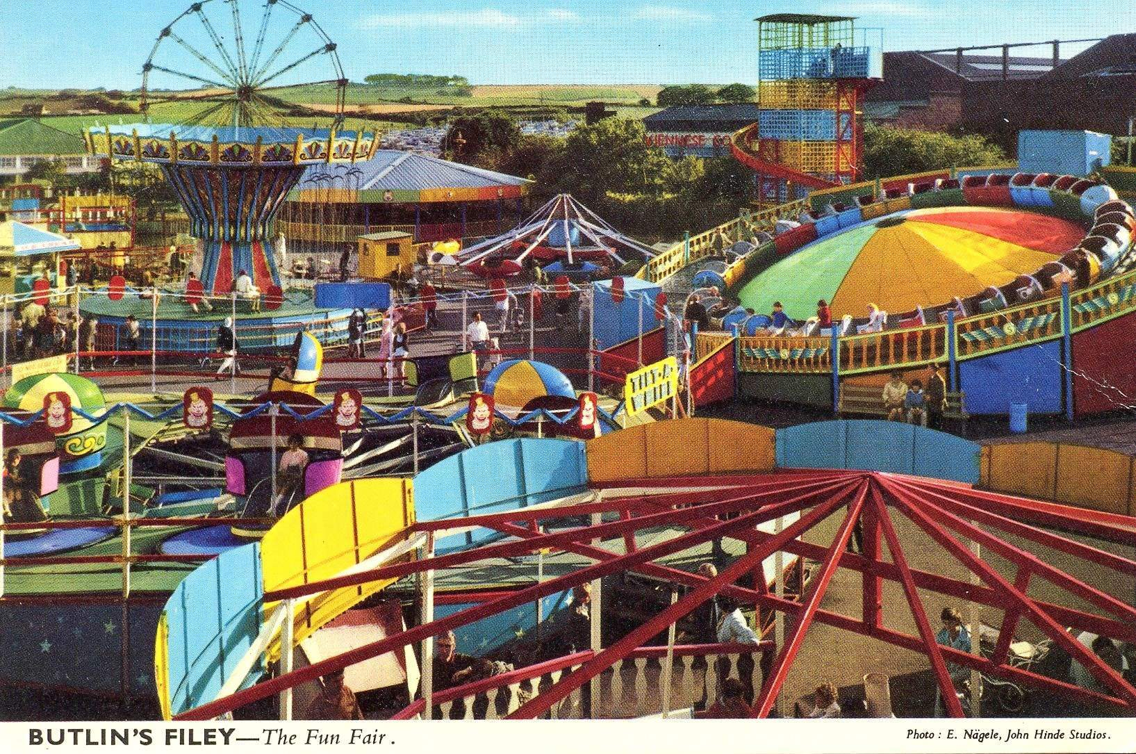 Butlins Filey - The Fun Fair (postcard, late 1960s)