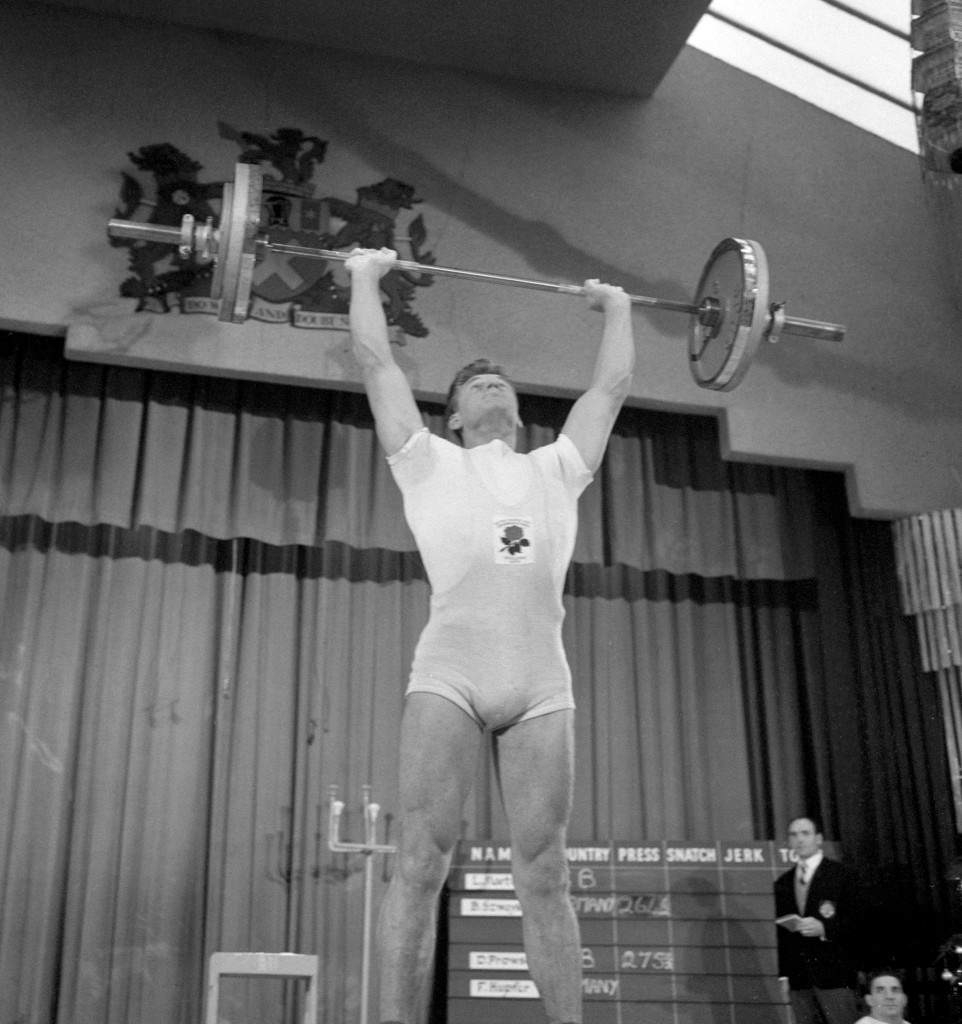 Britain's David Prowse during the England v West Germany weightlifting contest in the Municipal Hall, Tottenham, London.