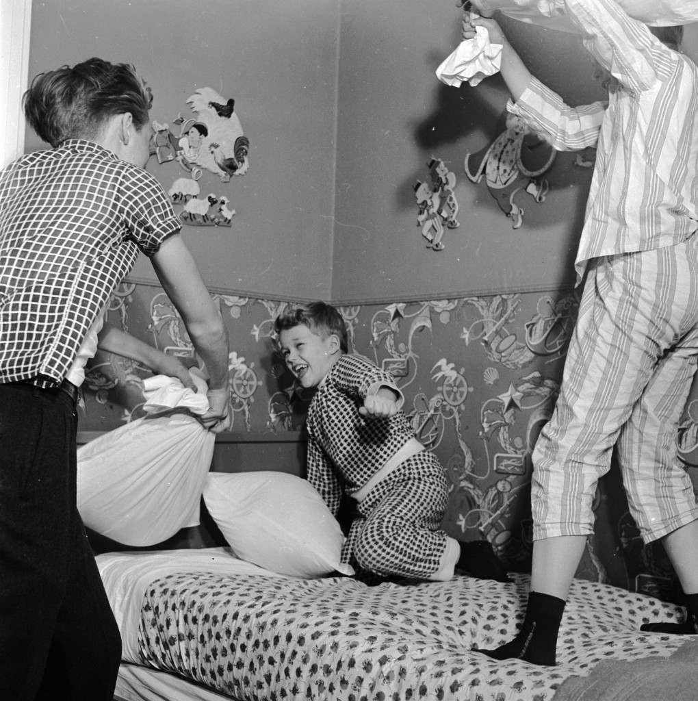circa 1955:  Child actor Ronnie Walken who later found fame as  Hollywood star Christopher Walken, enjoying a pillow fight with his brothers and fellow child stars at their home in Bayside, Long Island.  (Photo by Orlando /Three Lions/Getty Images)