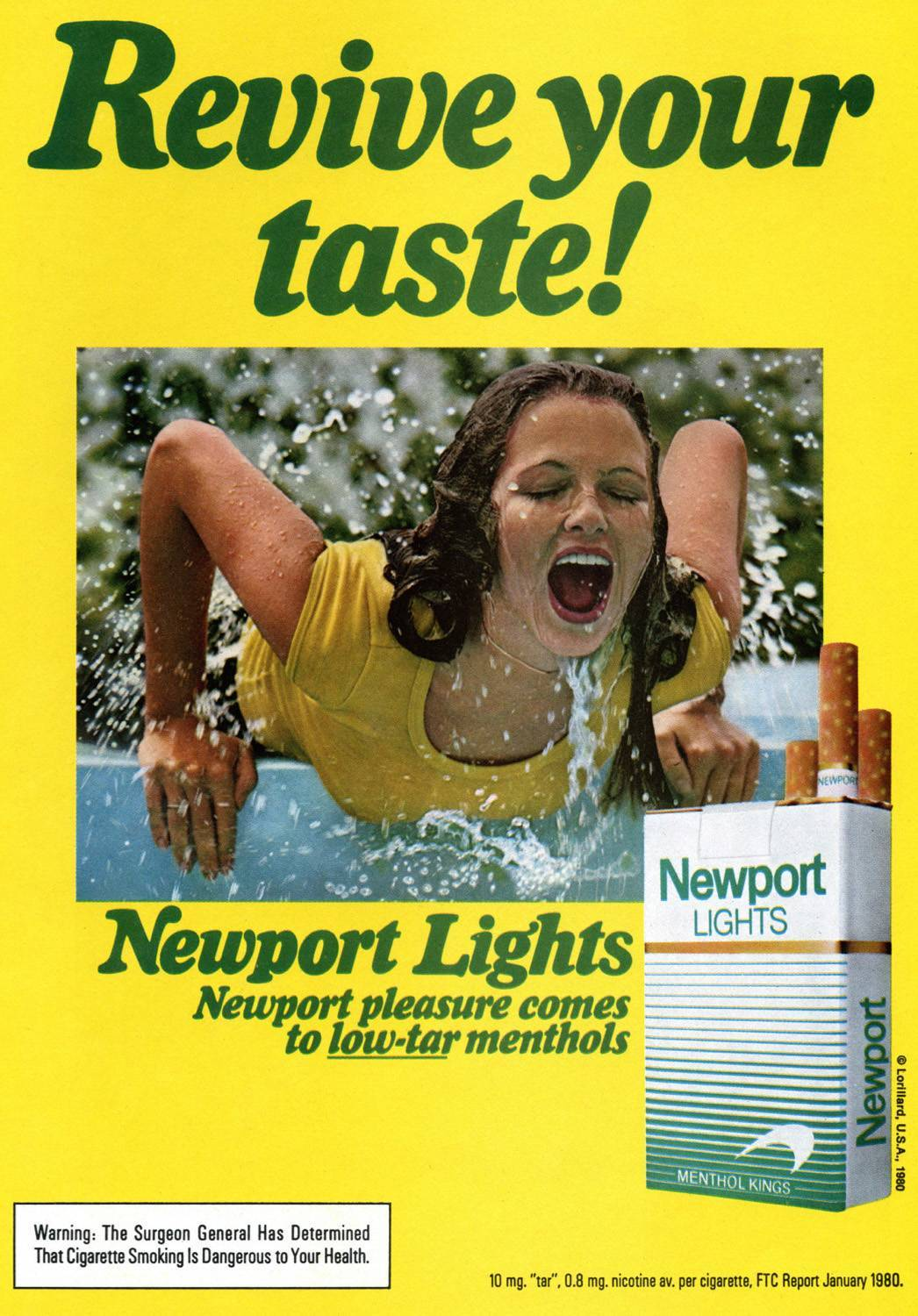 Newport Lights ad yellow t-shirt