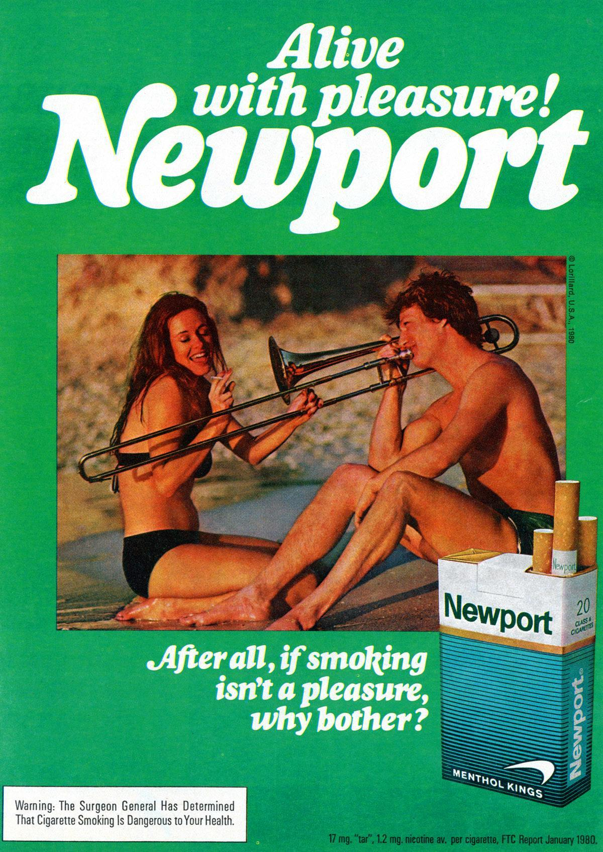 Newport cigarettes with trombone