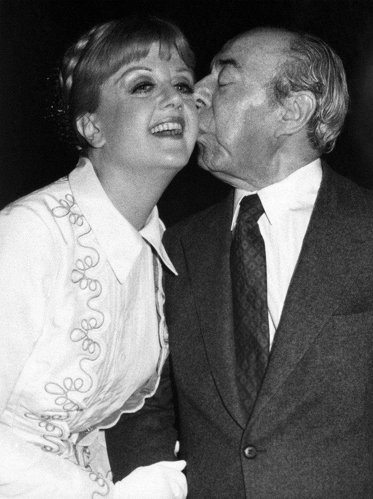"Actress Angela Lansbury gets a Kiss from composer Richard Rodgers at New York's Uris Theatre on Tuesday, April 11, 1978 following Miss Lansbury's first performance as Anna in ""The King And I"" on Broadway. (AP Photo) Ref #: PA.10090829  Date: 11/04/1978"