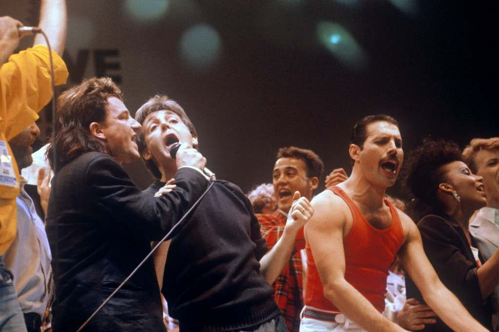 Bono, Paul McCartney and Freddie Mercury were among pop stars to join in Live Aid.  PA-1010715