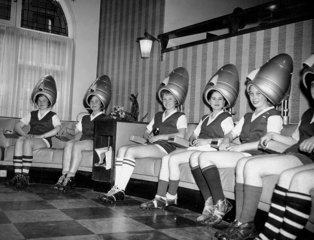 Women of the Leeds Co-op hairdressing department soccer team, having their hair done before a match. Ref #: PA.10118194 Date: 21/06/1961
