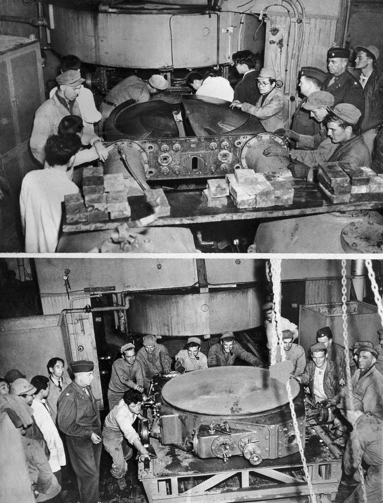 "In this combo photo, members of an American Engineer Aviation Battalion remove parts from a Japanese cyclotron in the Nishina Laboratory at Tokyo on Dec. 4, 1945. Part of the ""Atom Gun"" is removed. A vacuum chamber is extracted. The operation is part of the Allied program of destroying all Japanese atomic energy research equipment. (AP Photo/Julian C. Wilson) Ref #: PA.10457171"