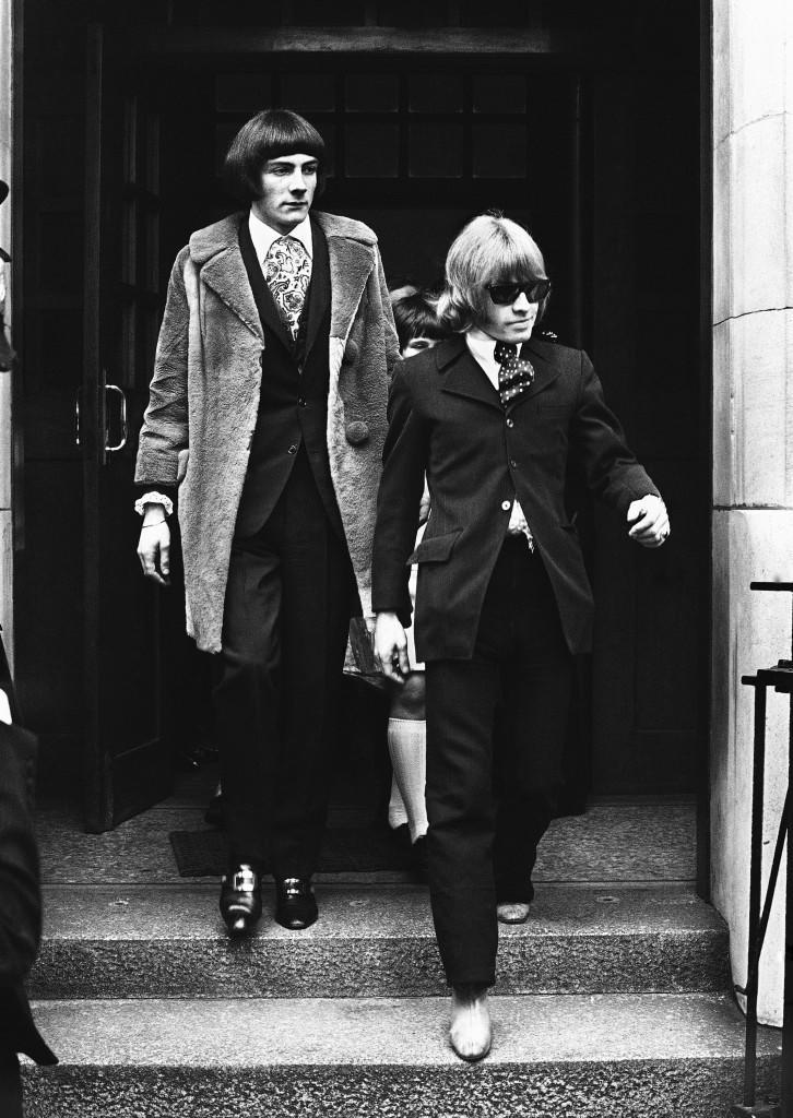 Rolling Stones Brian Jones, right, and Swiss entertainer Prince Stanislas Klossowski de Rola, Baron de Watteville, in London on May 11, 1967. Earlier the two were remanded on bail until June 2, after appearing at a London Magistrates Court charged with being in possession of dangerous drugs, 50 grains of cannabis resin. (AP Photo) Ref #: PA.10981838