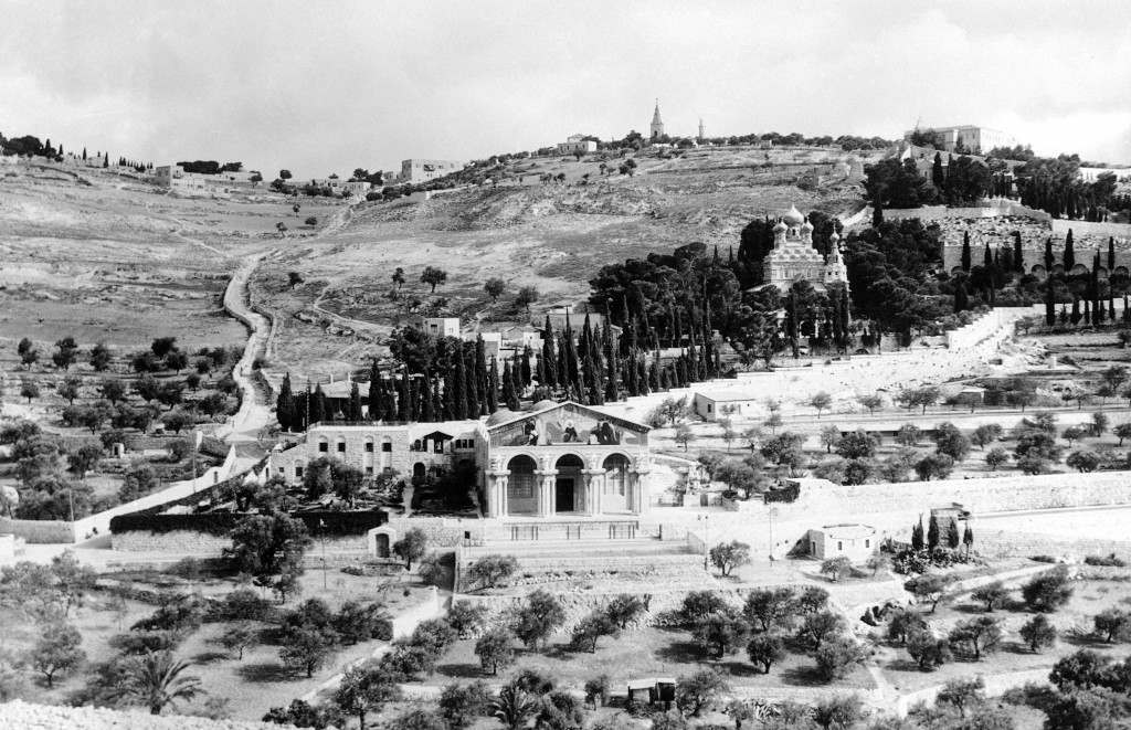 The Mount of Olives, Jerusalem, on Jan. 19, 1939, where Christ often prayed and meditated. The Garden of Gethsemane, where Christ was betrayed by Judas. This whole section of the holy city breathes of the Bible and of the life and times of Jesus. (AP Photo) Ref #: PA.11142789 Date: 19/01/1939