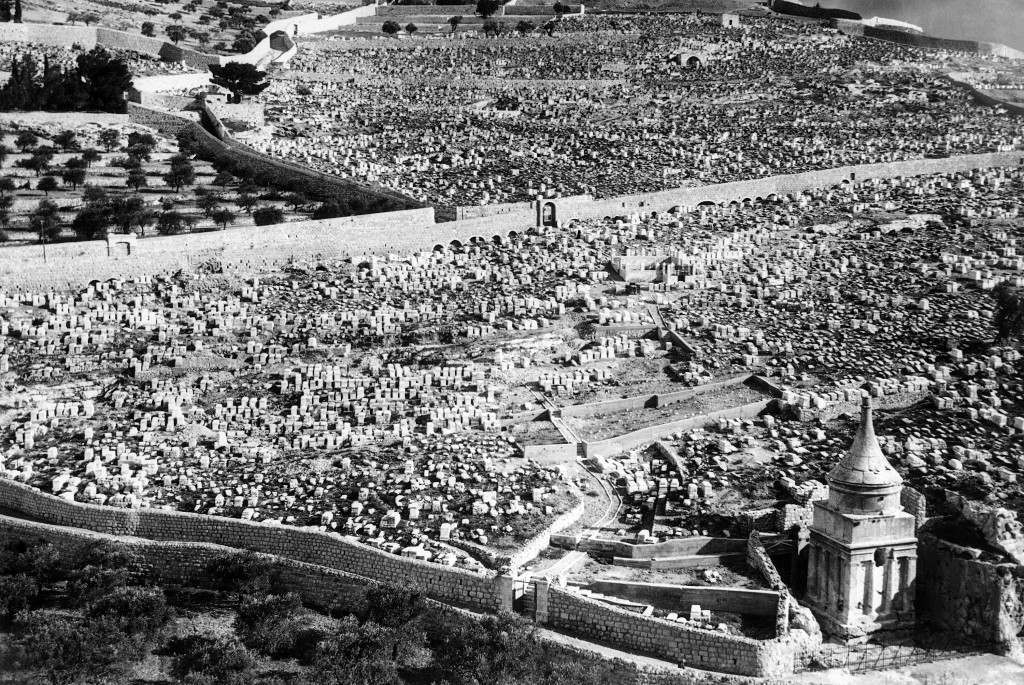 One of the largest Jewish cemeteries in the world, situated on the slopes of the Mount of Olives, part of the hills of Bethlehem in Jerusalem on Jan. 19, 1939. It adjoins the famous Garden of Gethsemane where Christ was said to have been betrayed by Judas with a kiss. Hundreds of thousands of Jews, many of them victims of the present Arab revolt in the holy land, are buried in this hallowed spot. (AP Photo) Ref #: PA.11142790 Date: 19/01/1939