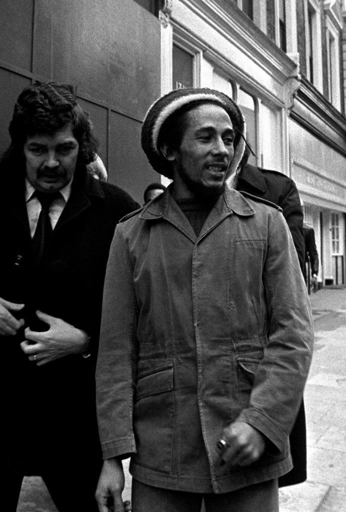Bob Marley, the 31 year old reggae singer, arriving at Marylebone Magistrates Court in London, where he was charged with possessing cannabis. Ref #: PA.1149100  Date: 06/04/1977