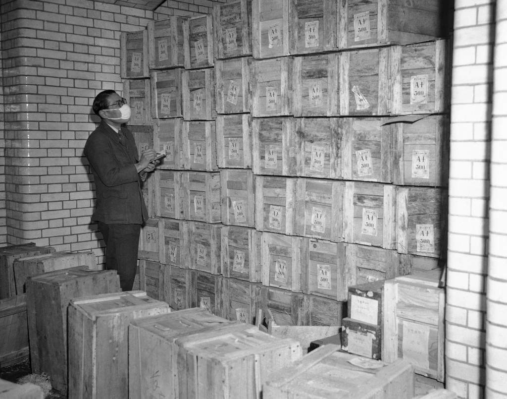 View inside the vaults in the Bank of Japan in Tokyo on Dec. 18, 1947, as new yen is stored in boxes until called into circulation by the government. With the increased circulation and the inflation of the yen, space for storing the money is at a premium. (AP Photo/Charles Gorry) Ref #: PA.11497811