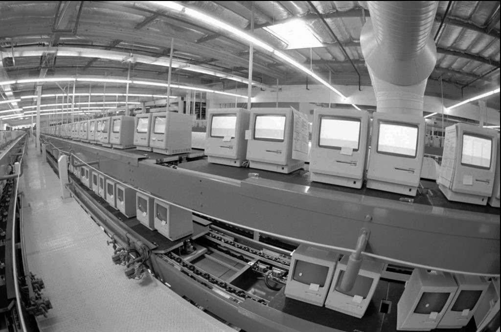 The Apple Computer Inc., manufacturing plant in Milpitas, Calif., producing Macintosh computers, is shown in this Feb. 24, 1984 photo. Apple was formed on April Fool's Day in 1976.