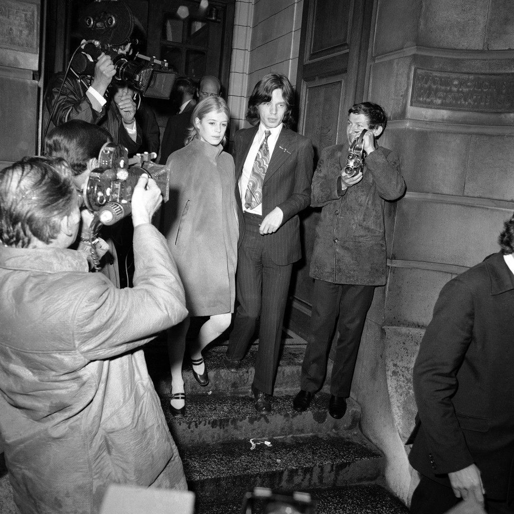Lead singer of the Rolling Stones pop-group, Mick Jagger, 25, and friend, actress Marianne Faithfull, 22, in London, England on June 23, 1966. The couple appeared at Marlborough St. Court charged with possessing the drug Cannabis. They were on remand from May 29 on £50 bail each. The case was adjourned until September to allow the couple to fulfill film commitments in Australia. (AP Photo/Worth) Ref #: PA.12002925