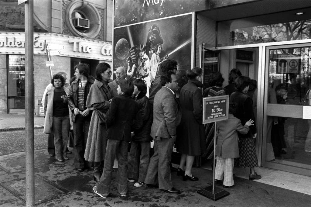 "DECEMBER 27th: Star Wars opens to british Audiences for the first time on 27/12/1977. The queue outside the Leicester Square Theatre for the London opening of the movie ""Star Wars"""