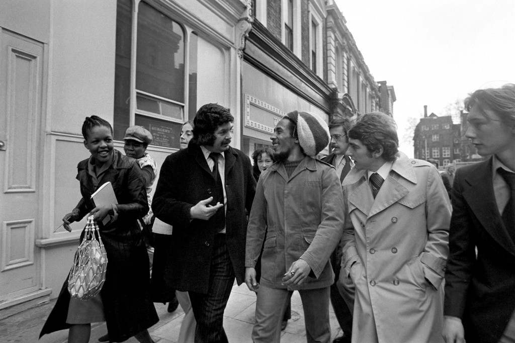 Jamaican reggae artist Bob Marley in London, where he appeared at Marylebone Magistrates Court charged with possessing cannabis.  Ref #: PA.1231227  Date: 06/05/1977