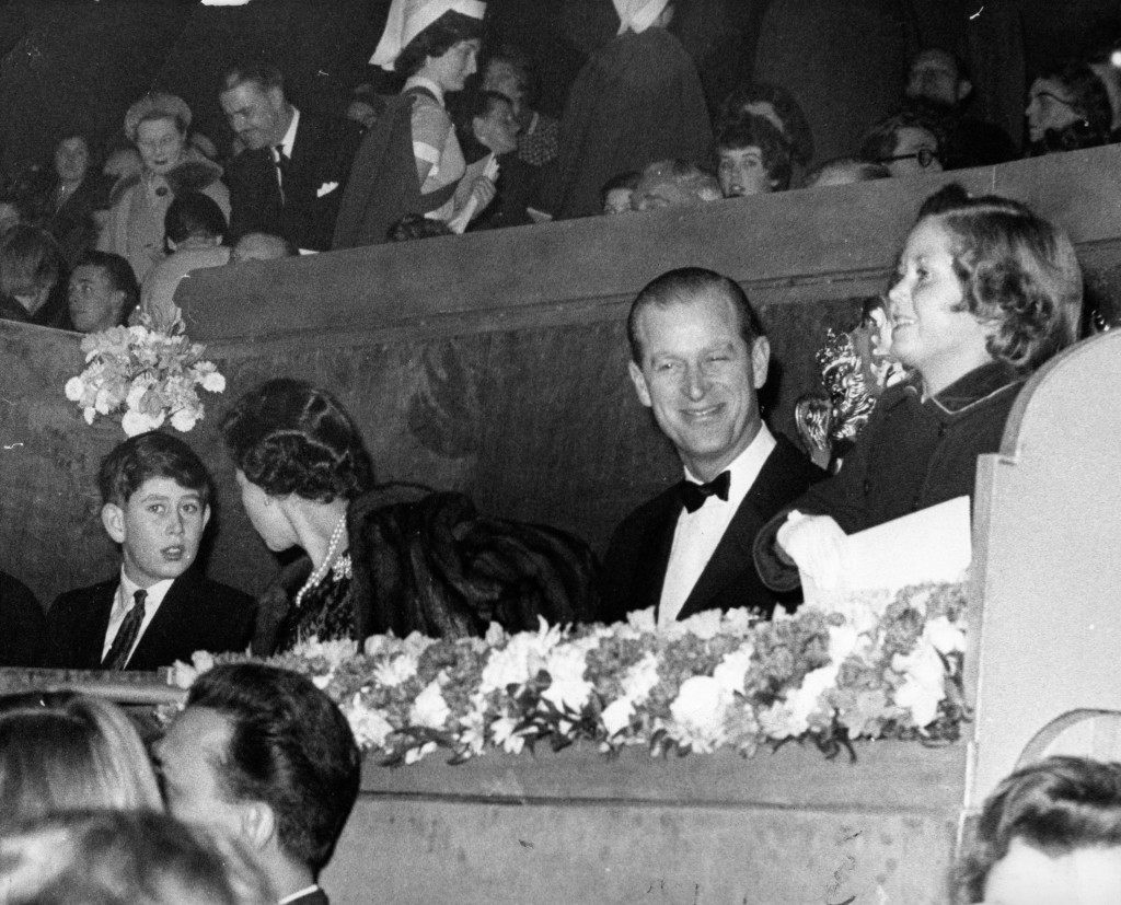 Queen Elizabeth II, the Duke of Edinburgh, Prince Charles and Lavinia Baring, nine year old daughter of Mr Mark Baring, in the royal box during a royal charity performance of the Bertram Mills Circus, at Olympia, London. Ref #: PA.12586421  Date: 21/12/1960