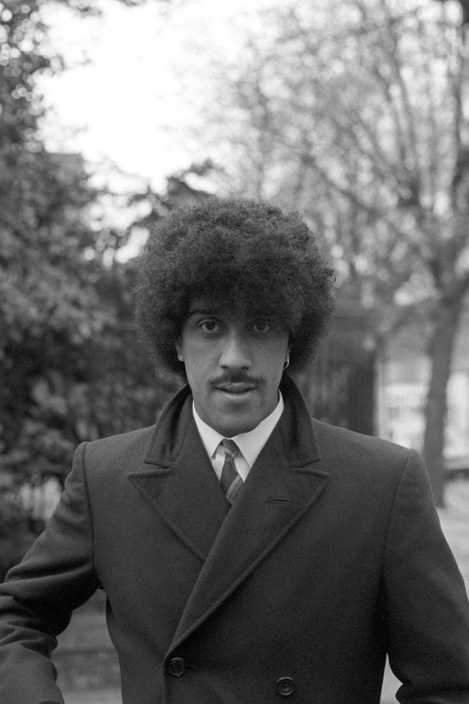 Phil Lynott, guitarist and singer with rock group 'Thin Lizzy', at Richmond where he appeared at the local magistrates' court accused of possessing cocaine and cannabis resin and with cultivating a cannabis plant at his home in Kew Road, Richmond. Archive-PA192291-1 Ref #: PA.12772267  Date: 24/04/1980
