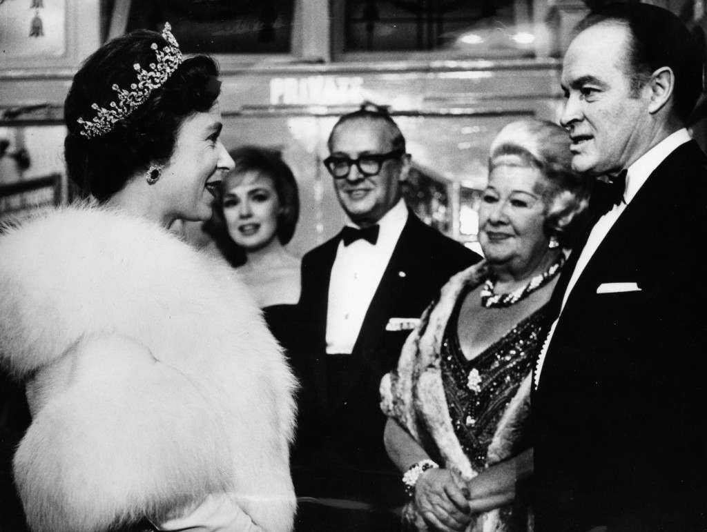 Queen Elizabeth II meeting Bob Hope and Sophie Tucker as the artists were presented to her after the Royal Variety Performance at the London Palladium. Ref #: PA.12783756  Date: 30/10/1962