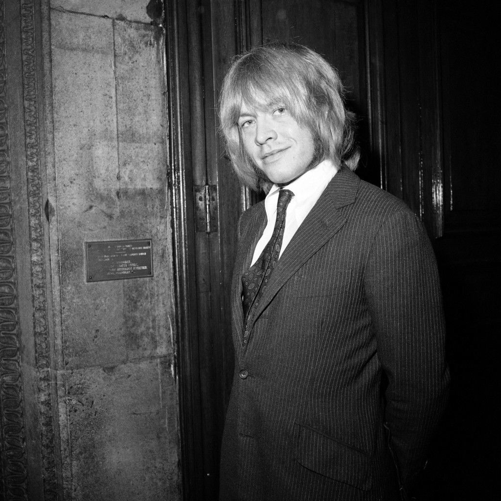 Brian Jones, a member of The Rolling Stones pop group before appearing at the Inner Sessions House Crown Court in London, England on Sept. 26, 1968. He is charged with having possessing an unknown quantity of the Cannabis drug at his flat in London, without lawful authority. (AP Photo/Worth) Ref #: PA.12870516