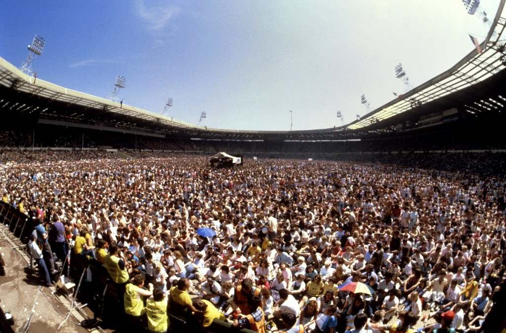 The huge crowd at Wembley Stadium, London for the Live Aid concert.